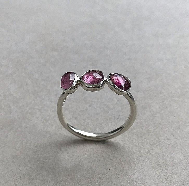 Silverring rosa turmaliner