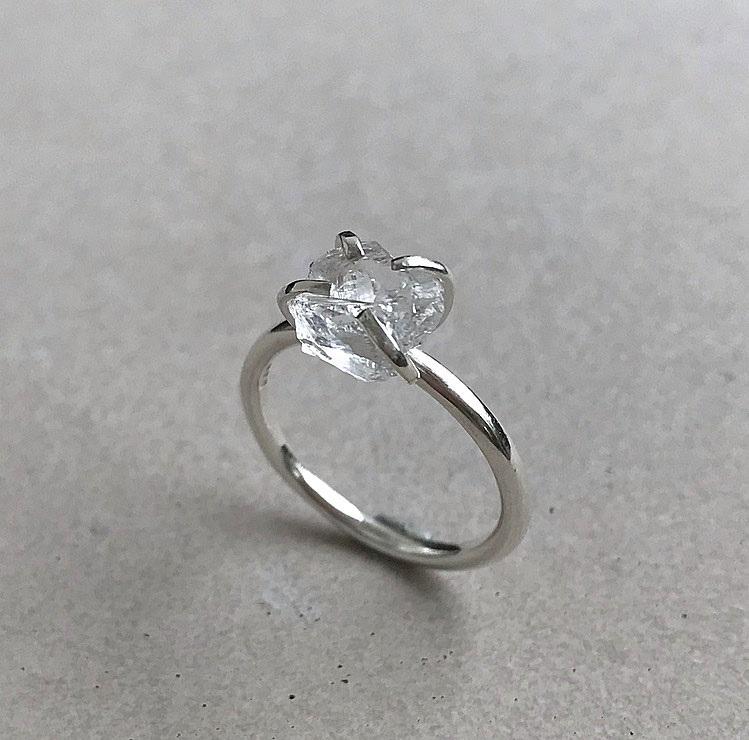 Rå klar kvarts kristall ring silver