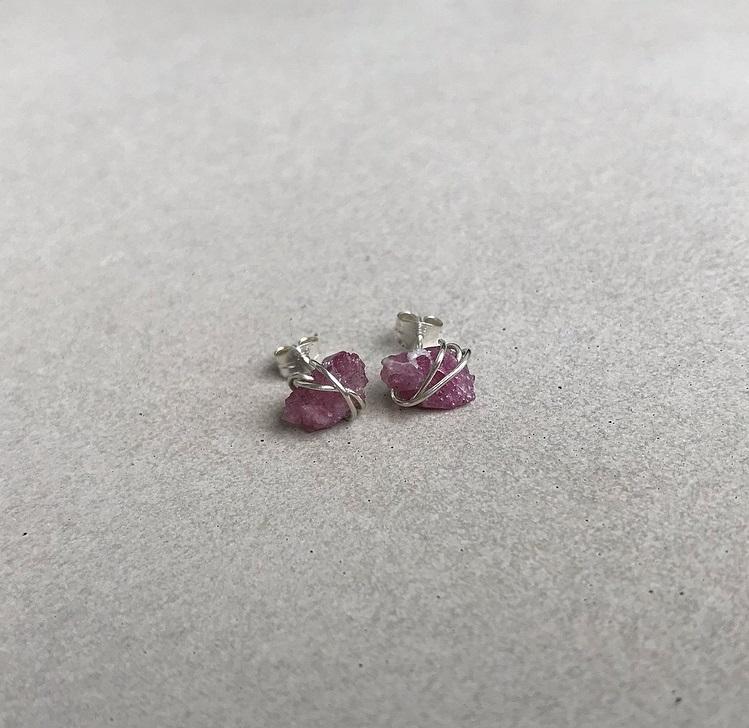 Örhängen rosa turmalin silver