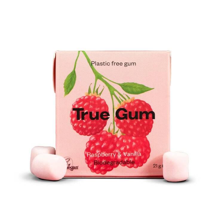 True Gum plastfritt tuggummi Hallon & Vanilj