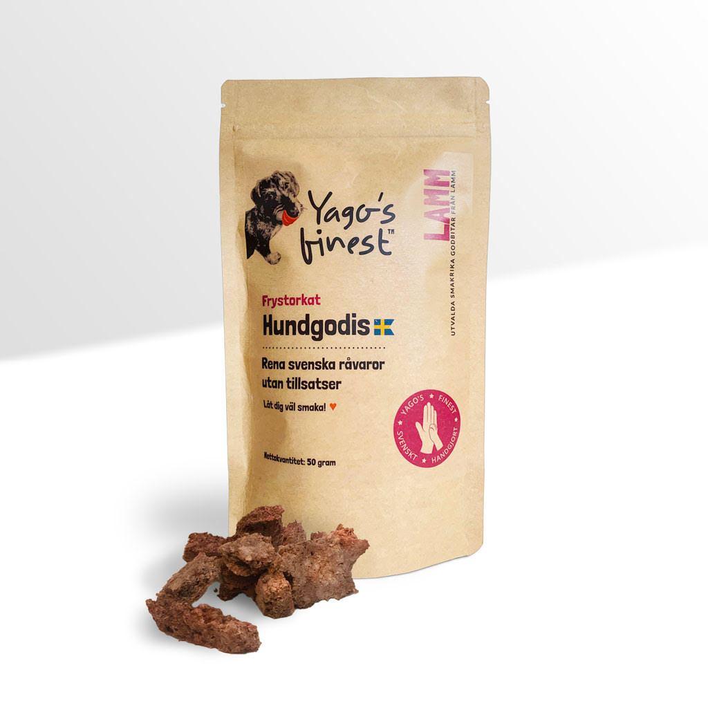 Yago's finest frystorkat svenskt hundgodis LAMM