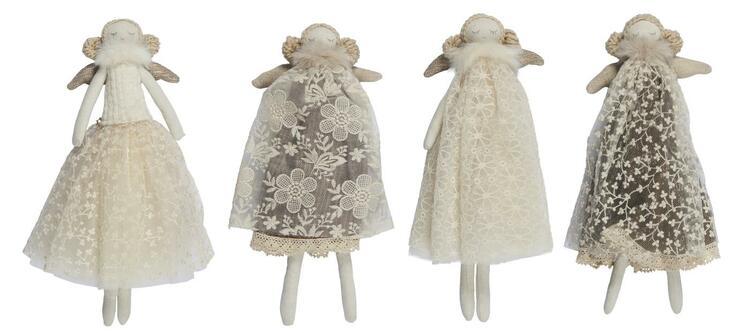 Ängel i textil med vit/grå klänning