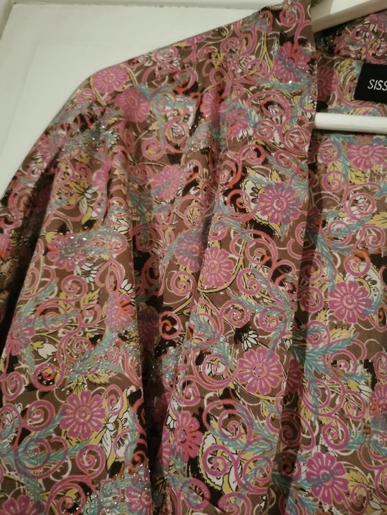 Kimono - kort Rosa mönstrad med glitter