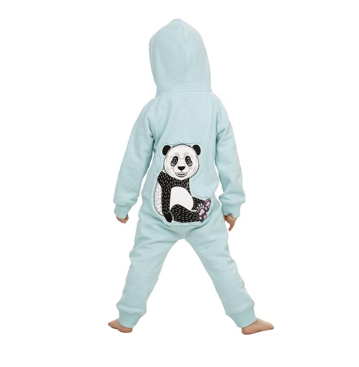 Onsie med panda på ryggen