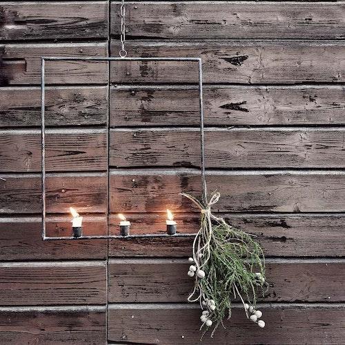 Ljusstake kvadratiskt med 3 ljus