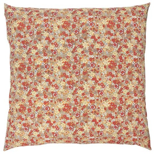 Blommigt kuddfodral med röda toner