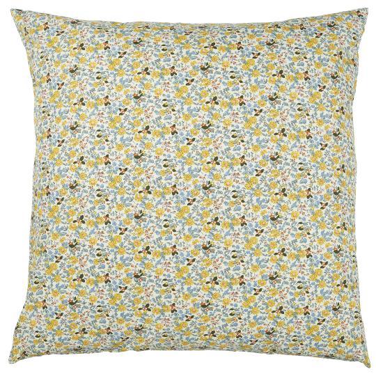 Blommigt kuddfodral i gula toner