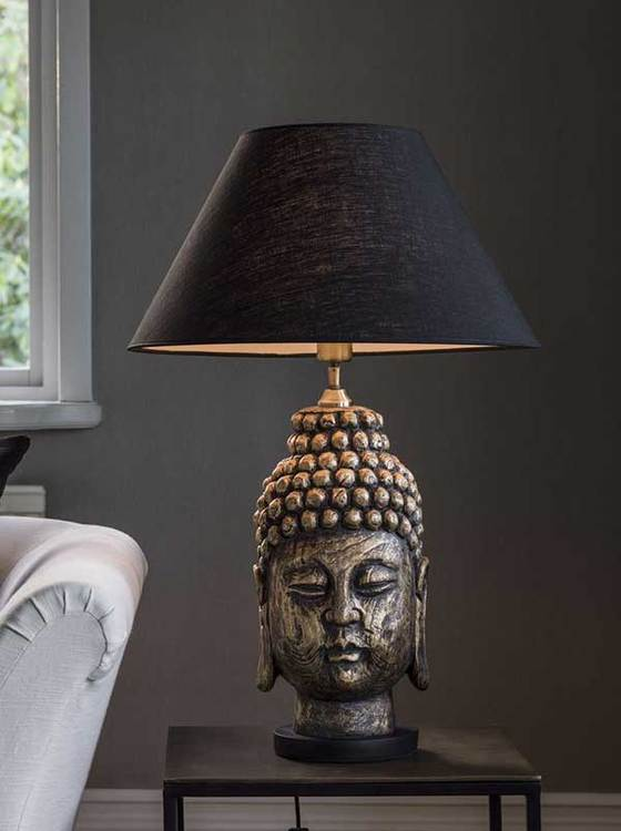 BUDDHA LAMPFOT - ANTIKMÄSSING - 54 CM