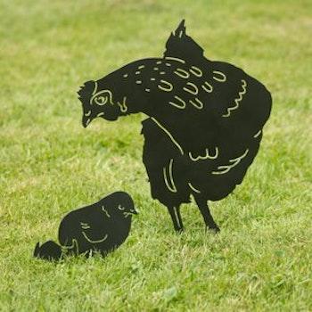 Siluett Kyckling med ägg