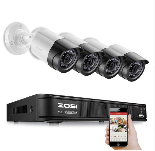 ZOSI Övervakningspaket 4st kameror 1080P Vattentäta