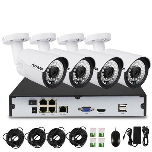 Komplett PoE Övervakningssystem Techege 1080P 4 Kameror
