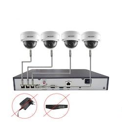 Komplett PoE Övervakningssystem HIKVISION 1080P 4 Dome-kameror