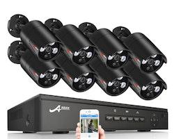 ANRAN PoE Övervakningssystem 8st IP-kameror 1080P IP-66