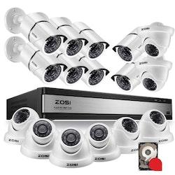 ZOSI Övervakningspaket 16st kameror 1080P IP67