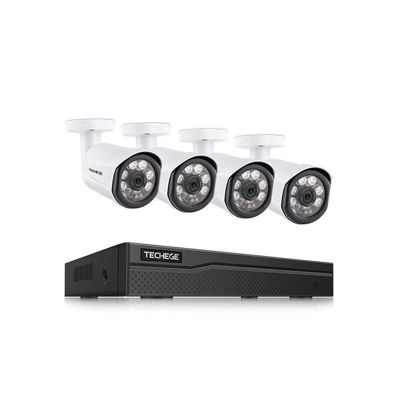 Techege PoE Övervakningssystem 1080P 4 Kameror IP66 2MP