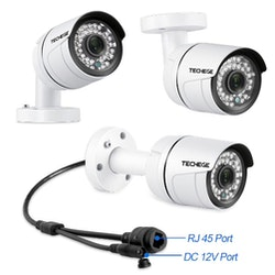 PoE Övervakningssystem 8 kanaler Techege 1080P 4 Kameror Mikrofon