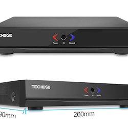 PoE Övervakningssystem 4 kanaler Techege 1080P 4 Kameror
