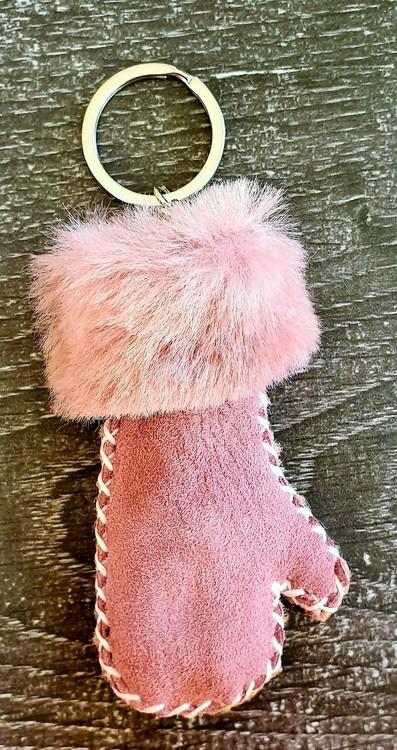 Fårskinnsvante - rosa