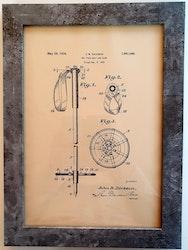 Patentritningar av skidor, pjäxor, stav och skidglasögon