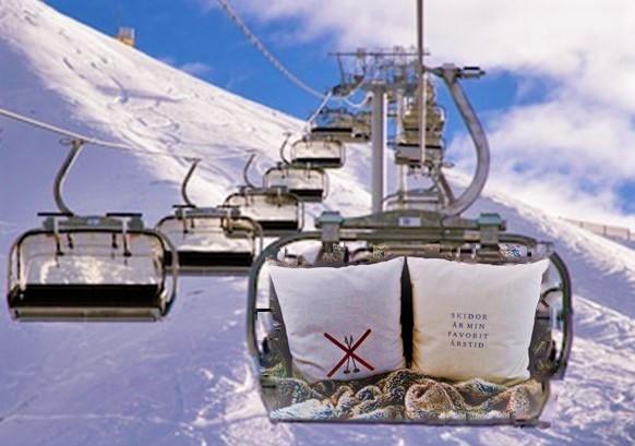 Korsade skidor med stavar