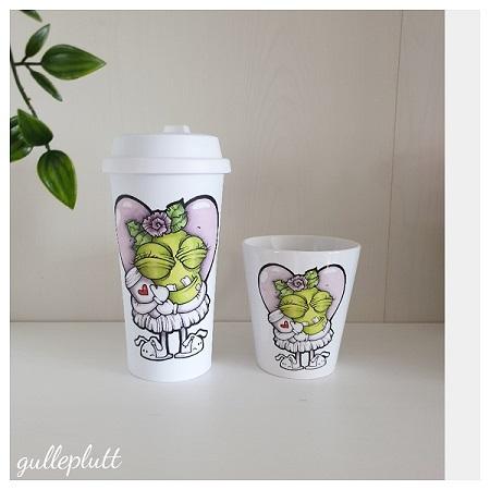 Porslinsmugg: Kaffeälskande Gullepruttan