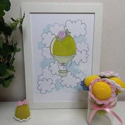 Doptavla: Luftballong Prinsesstårta