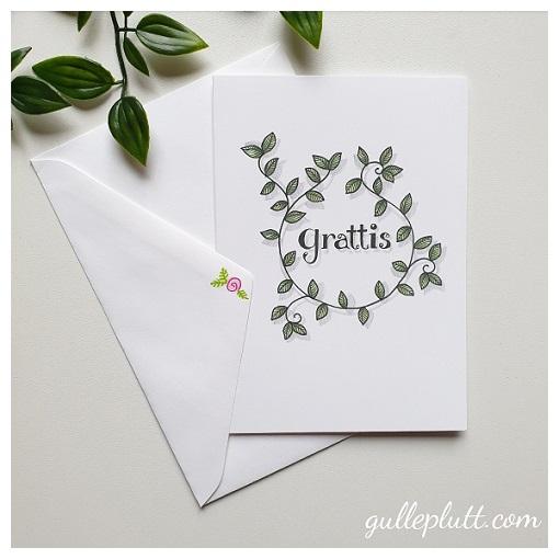 Kort: Grattis, blad