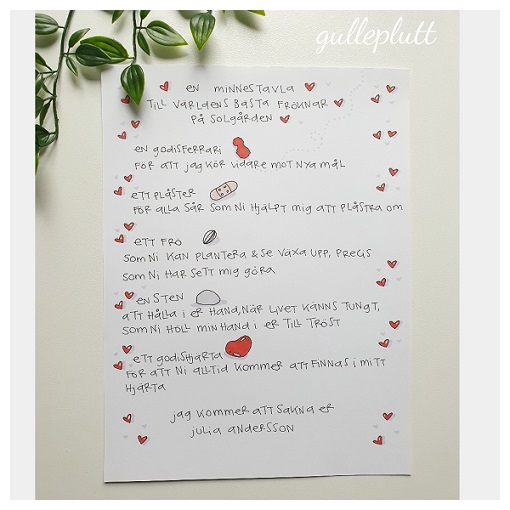 Minnestavla till fröken med dikt