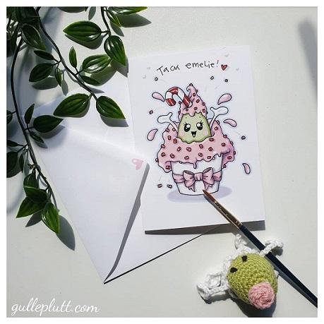 Kort: Cupcake, polkagris