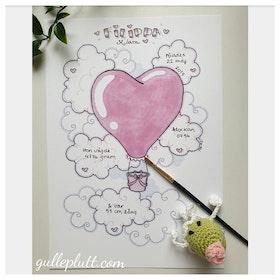 Namntavla: Rosa Luftballong, Hjärta