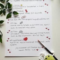 Minnestavla till fröken med dikt, present till fröken & pedagog