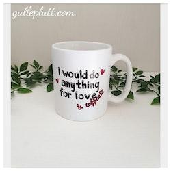 "Porslinsmugg, matt, ""love & coffee"""