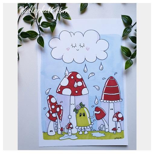 Barntavla: Regn i svampskogen