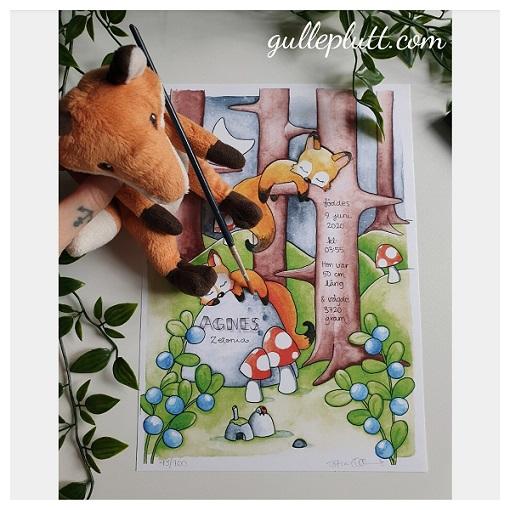 LIMITERAD! Personlig Födelsetavla: Sovande Rävarna, Akvarell