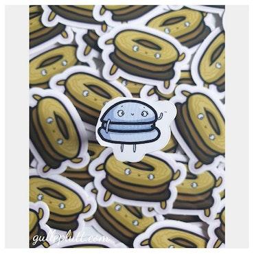 Klistermärke Mini, Blå Macaron