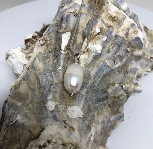 Halsband med vit sötvattenpärla