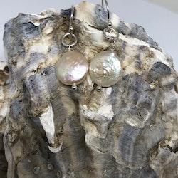 örhängen med platt pärla