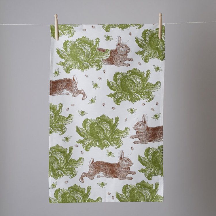 Tea towel / Kökshandduk Rabbits & cabbage