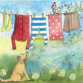 Washing Line Dog Card / Washing Line Dog kort
