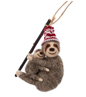 Mum & Baby Sloth Christmas tree decoration / Sengångare  Julgrans pynt