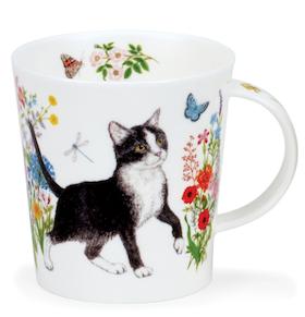 """Dunoon Blommig Svart Katt mugg  """" Floral Cats"""""""