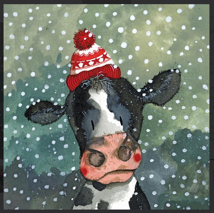 """5 pack Alex Clark Julkort """" Christmas Cow """""""