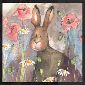"Alex Clark Kort "" Hare & Poppies """