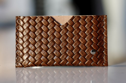 Card Holder Herringbone - Korthållare i läder