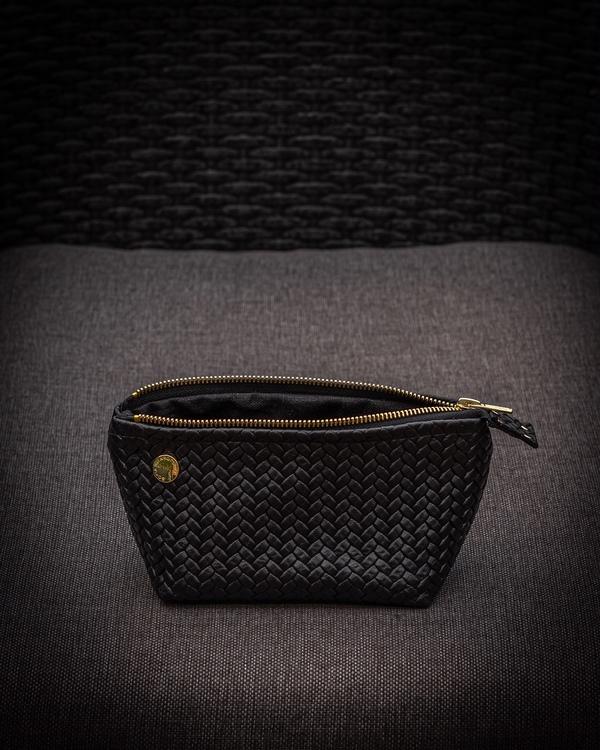 Make-Up Bag - Sminkväska i fiskbensmönstrat läder
