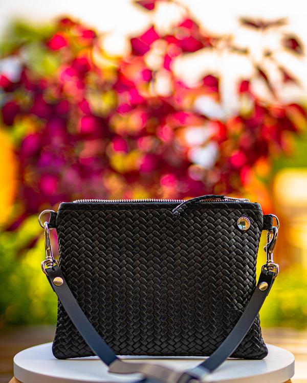 VIP Shoulder Bag - Black Herringbone Leather