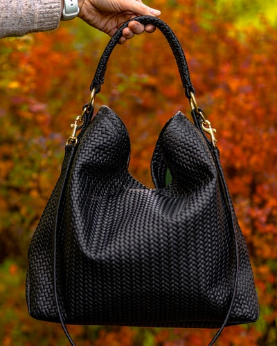 Original Leather Bag - Black Herringbone
