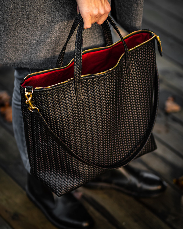 New Tote Bag - Herringbone Leather w/ Zipper