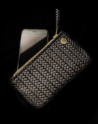 VIP iPhone Wallet - Herringbone Black Leather