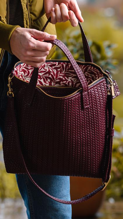New Tote Bag - Herringbone Leather w/ Zipper